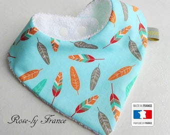 SALE! Bandana bib multicolored feathers