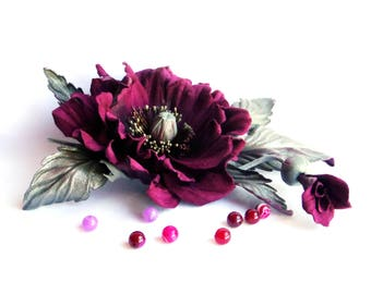 Leather flowers  Flowers corsage Flower brooch  Gift  for her Romantic gifts Poppy brooch  Burgundy flowers  Burgundy brooch  Bright brooch