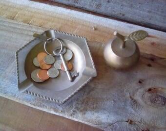 Apple and ashtray. Brass apple/ashtray. Brass ashtray/apple. Vintage brass apple/ashtray. Vintage brass ashtray/apple.  2 Lot. TwoCsVintage.