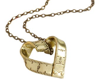 Gold Coloured Measuring Tape Necklace - Beautiful Gift Idea For a Lover of Sewing