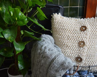 Super chunky knitted cushion cover