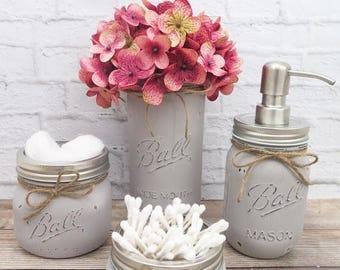Mason Jar Bathroom Set-Bathroom Decor-Housewarming Gift-Mason Jar Bath Set-Rustic Bathroom-Farmhouse Bathroom Decor