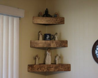 Set of three handmade decorator wood wall corner shelves with plain face.