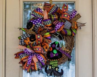Witch Grapevine Wreath, Halloween wreath, Fall wreath, Halloween wreath for front door, Halloween grapevine wreath, autumn wreath, pumpkin