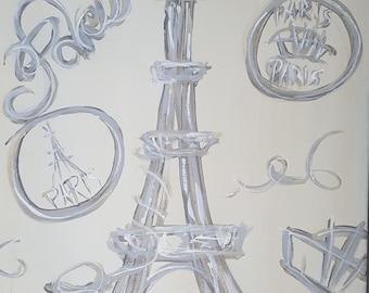 """Black and White """"Paris"""" Acrylic Painting"""