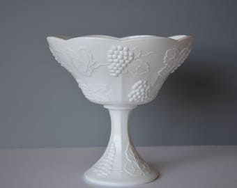 Vintage Milk Glass Compote, Harvest Milk Glass, Colony, Pedestal Bowl, Grapes Leaves Pattern, White Milk Glass, Candy Bowl, Centerpiece