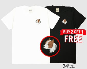 Pitbull Terrier Dog Embroidered T-Shirt by 24PlanetsStudio