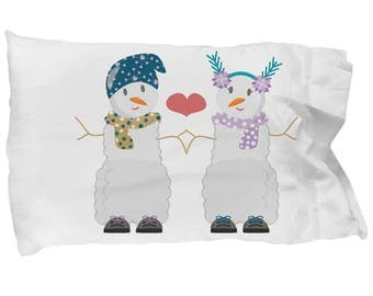 Snow Couple Valentine's I Love You Pillowcase Gift Anniversary Bridal Wedding Engagement Birthday Spouse Decor