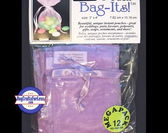 "Sheer Organza Bag-its, 12 pcs 3"" x 4"", lt purple  +FREE SHIPPING & Discounts*"