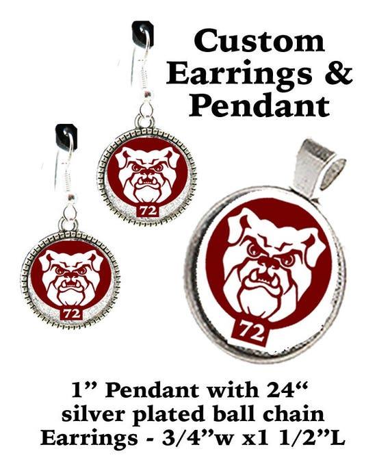 CUSTOM Bulldogs Earrings & Pendant SET +FREE Shipping