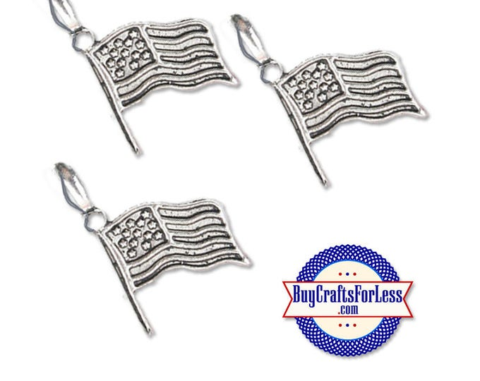 USA FLAG, Patriotic Charms, 6 pcs  +Discounts & FREE Shipping*
