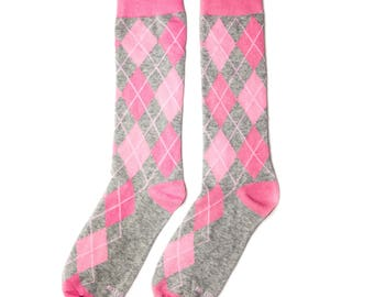 Groomsmen Socks | Pink & Grey Argyle Socks | Wedding Day Socks | Groomsmen Gifts | Groomsmen Proposal Idea | Men's Socks | Colorful Socks