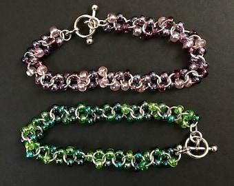 Green Czech Glass Beads Chainmail Bracelet