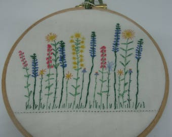Embroidered Flower Hoop Art, Hand embroidered garden flowers, Hand made gift