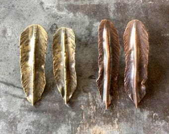 Large fold formed feather earrings,fold formed feather earrings,copper feather earrings,brass feather earrings,rustic feather earrings,boho