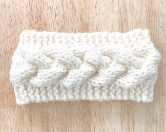 Cream Chunky Knit Headband - Braided Knit Earwarmer - Braided Knit Headband - Womens Knit Headband - Beige Knit Winter Earwarmer - Cable Kni