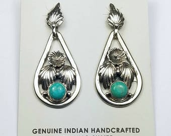Native American Navajo handmade Sterling Silver Tyrone Turquoise post earrings