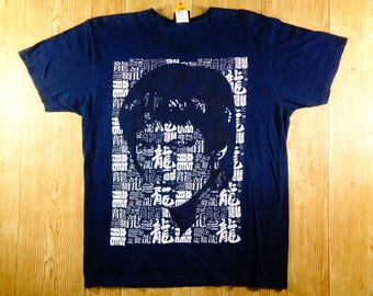 On Sale! Vintage 90's Bruce Lee Face Chinese Art Rare Tshirt