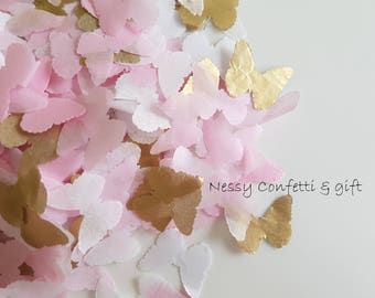 Pink White & Gold tissue paper butterfly confetti /party and table confetti/Birthday/Wedding/Baby showers and many more decor