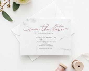 Save the Date Template, Save the Date Printable, Marble Rose Gold Wedding Printable,Wedding Invitation Template,PDF Instant Download #E039