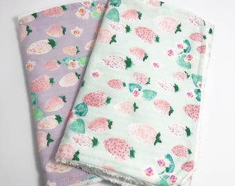 Baby Burp Cloths - Baby Girl Burp Cloth - Burp Cloth Set - Strawberry Burp Cloths - Pink Burp Cloths - Lavendar Burp Cloths - Strawberries