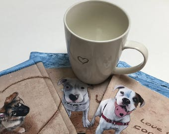 Puppy Love Mug Rugs = Versatile, Washable Coasters with lovable dogs in sand and blue colours - 5 3/4 inch square