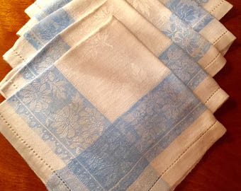 5 Vintage Blue and White Damask Luncheaon Napkins