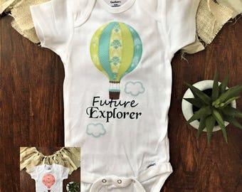 Hot air balloon onesie®, Hot Air Balloon Decorations, hot air balloon baby shower decorations, hot air balloon outfit, future explorer party