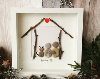 Pebble art HOME box frame picture
