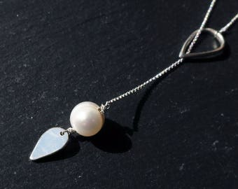 Freshwater Pearl and Sterling Silver Lariat Necklace with Teardrop Loop