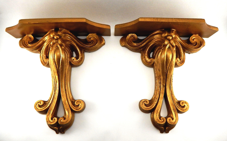 Rose Gold Shelf Brackets: Set Of 2 Vintage Gold Hollywood Regency Burwood Syroco Type