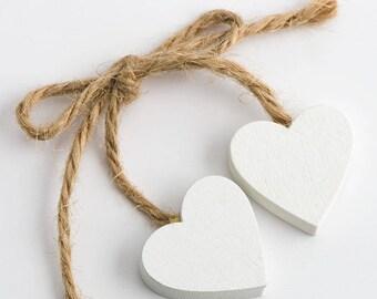 Wooden Heart Decoration, Heart on a String, Self Adhesive Heart, Heart embellishment, Wedding Favor Decoration, scrapbook decor, card making