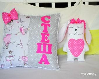 Custom Personalized Pillow - Kids pillow - Applique Pillow - Embroidered Pillow - Baby Pillow - Baby Shower Gift - Girls Pillow- Name Pillow