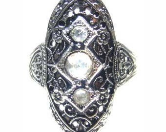 Antiqued White Gold filigree Ring