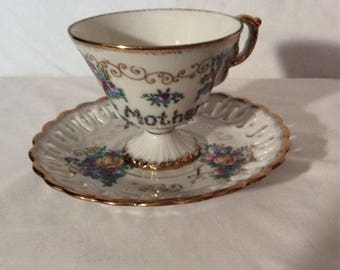 Antique 1910 Cup and Saucer Entitled ,MOM