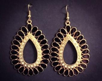 SALE Teardrop earrings black enamel earrings rhinestone earrings dangle earrings pierced earrings black gold earrings