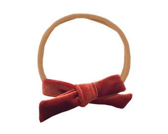 Schoolgirl Velvet Bow or Pigtail Set /// Rust