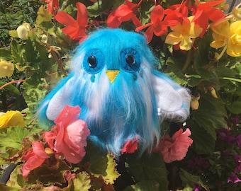 Blue Owl Plush Kawaii Plushie Bird Toys Weird Stuffed Animals Chibi Art Toy OOAK