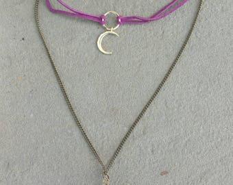 Moon & Aura Quartz Choker Necklace
