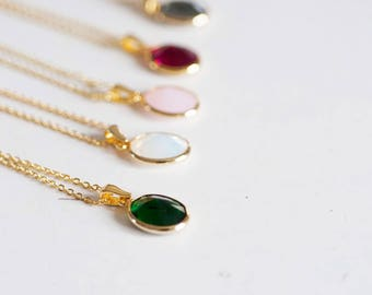 Full gold chain 40cm crystal - 1.7 mm colorful pendant necklace