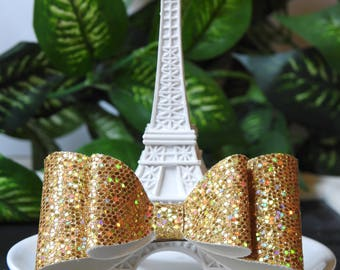Gold bow, canvas bow, golden bow, party bow, glitter bow, princess, princess bow
