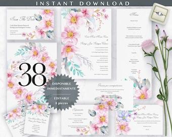 Invitación de Boda en español. Spanish wedding invitation. Editable, diseño floral acuarela. Con Complementos, Full Wedding Suite