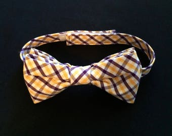 ECU Plaid Bow Tie; LSU Plaid Bow Tie; Purple & Gold Plaid Bowties;  East Carolina Pirates Toddler/Youth/Adult Bow Ties; LSU Tigers Bow Ties