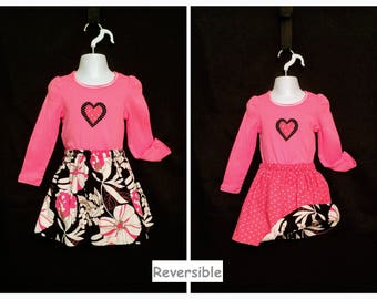Toddler's Skirt Set; Girl's Reversible Skirt Set; Girl's Top and Skirt; Reversible Skirt & Top; Black/Hot Pink Skirt; Polka Dot Skirt 3-4T