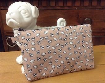 Pug Print Zipper Pouch Pima Cotton Fawn Brown Mini Pugs FREE SHIPPING!