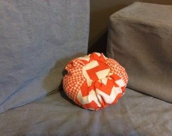 Chevron and Houndstooth cotton stuffed pumpkin- small