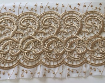 Between two color guipure lace ochre 14 cm in width
