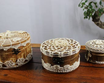 Set of 3 jewellery boxes - wood jewellery boxes - crocheted jewellery boxes