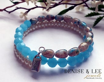 Turquoise & Pearl Wrap Bracelet With Wish Charm