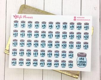 52 Week Savings Challenge | Planner Stickers